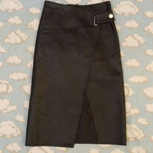 Topshop wrap front leather skirt